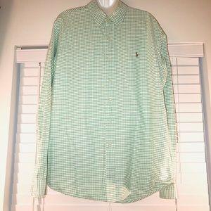 Ralph Lauren green/white gingham button down